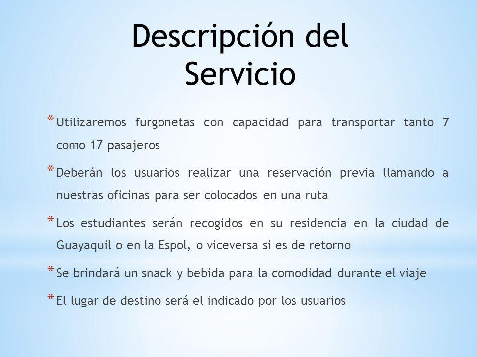 * Utilizaremos furgonetas con capacidad para transportar tanto 7 como 17 pasajeros * Deberán los usuarios realizar una reservación previa llamando a n