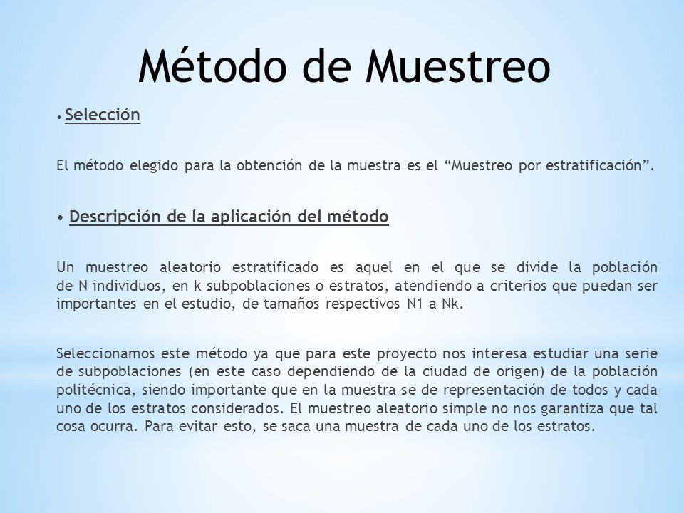 Selección El método elegido para la obtención de la muestra es el Muestreo por estratificación. Descripción de la aplicación del método Un muestreo al