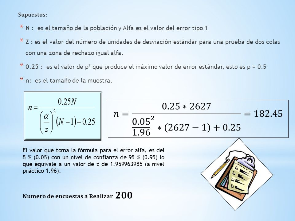 Supuestos: * N : es el tamaño de la población y Alfa es el valor del error tipo 1 * Z : es el valor del número de unidades de desviación estándar para