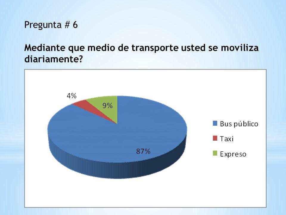 Pregunta # 6 Mediante que medio de transporte usted se moviliza diariamente?