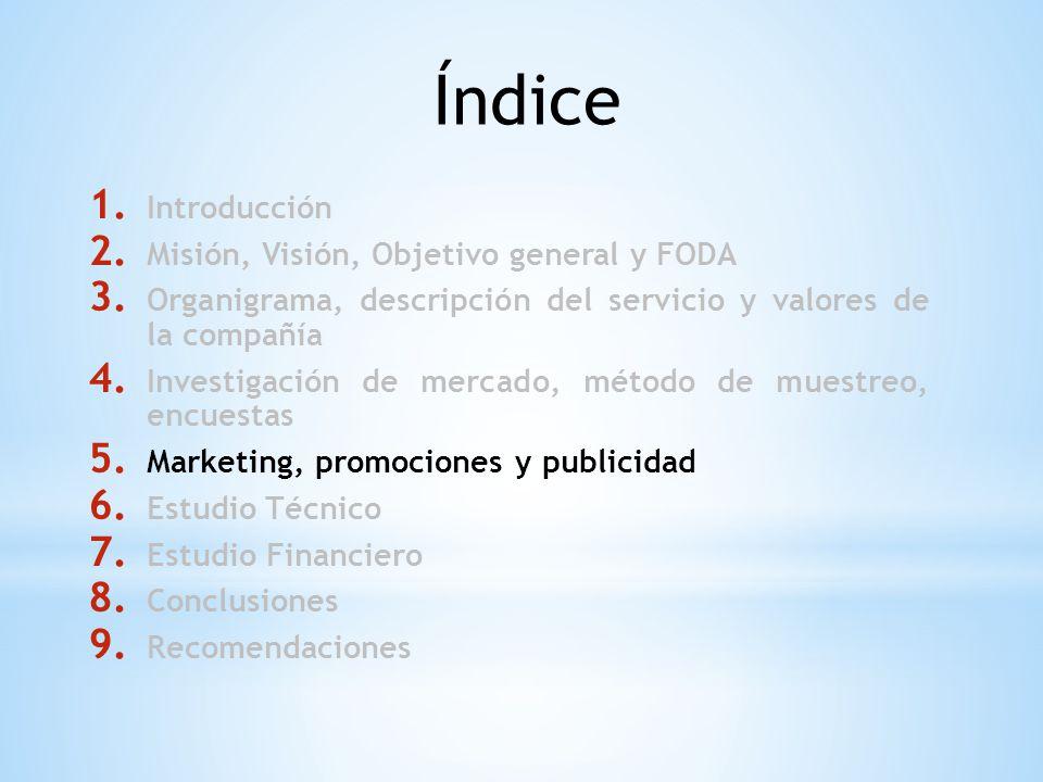 Índice 1. Introducción 2. Misión, Visión, Objetivo general y FODA 3. Organigrama, descripción del servicio y valores de la compañía 4. Investigación d