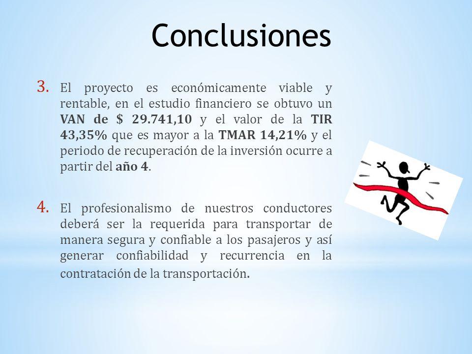 3. El proyecto es económicamente viable y rentable, en el estudio financiero se obtuvo un VAN de $ 29.741,10 y el valor de la TIR 43,35% que es mayor