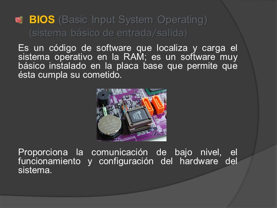 (Basic Input System Operating) (sistema básico de entrada/salida) BIOS (Basic Input System Operating) (sistema básico de entrada/salida) Es un código de software que localiza y carga el sistema operativo en la RAM; es un software muy básico instalado en la placa base que permite que ésta cumpla su cometido.