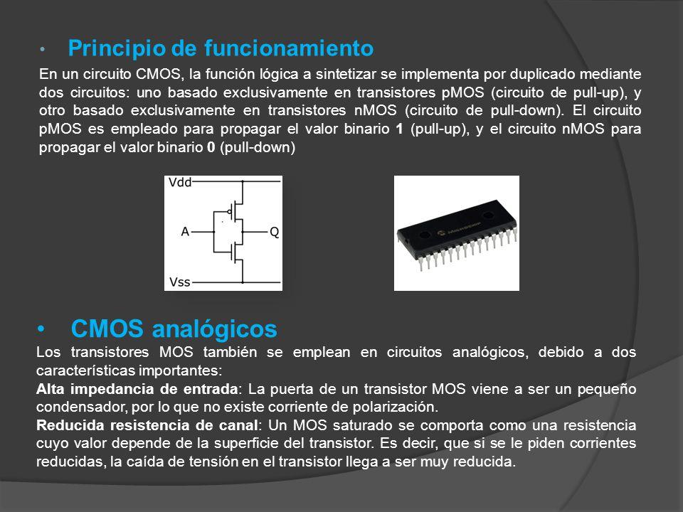 Principio de funcionamiento En un circuito CMOS, la función lógica a sintetizar se implementa por duplicado mediante dos circuitos: uno basado exclusivamente en transistores pMOS (circuito de pull-up), y otro basado exclusivamente en transistores nMOS (circuito de pull-down).