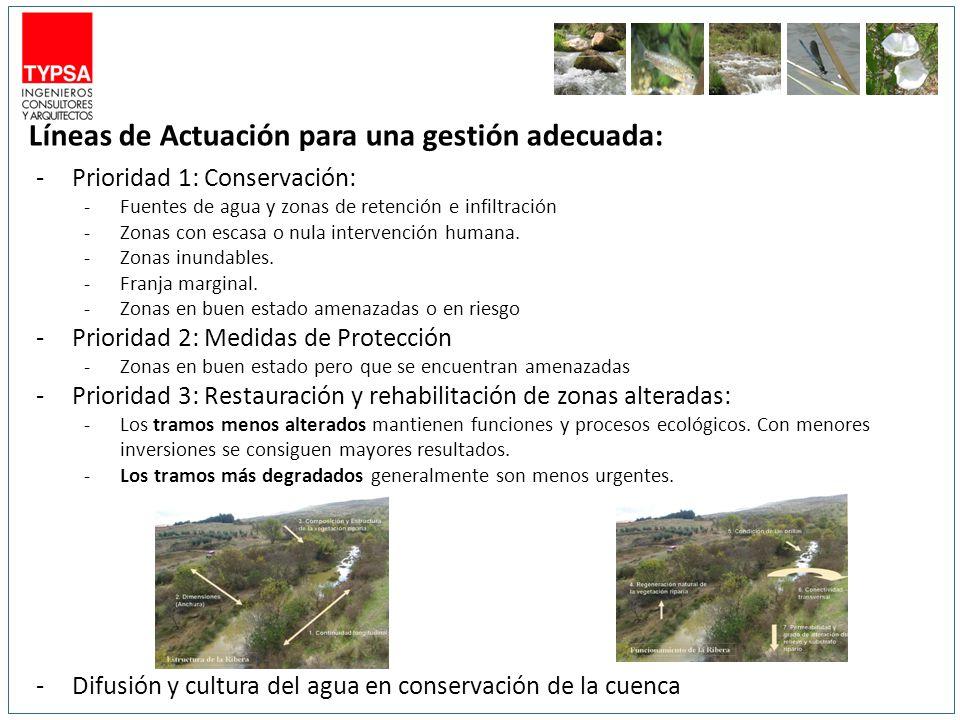 Líneas de Actuación para una gestión adecuada: -Prioridad 1: Conservación: -Fuentes de agua y zonas de retención e infiltración -Zonas con escasa o nu