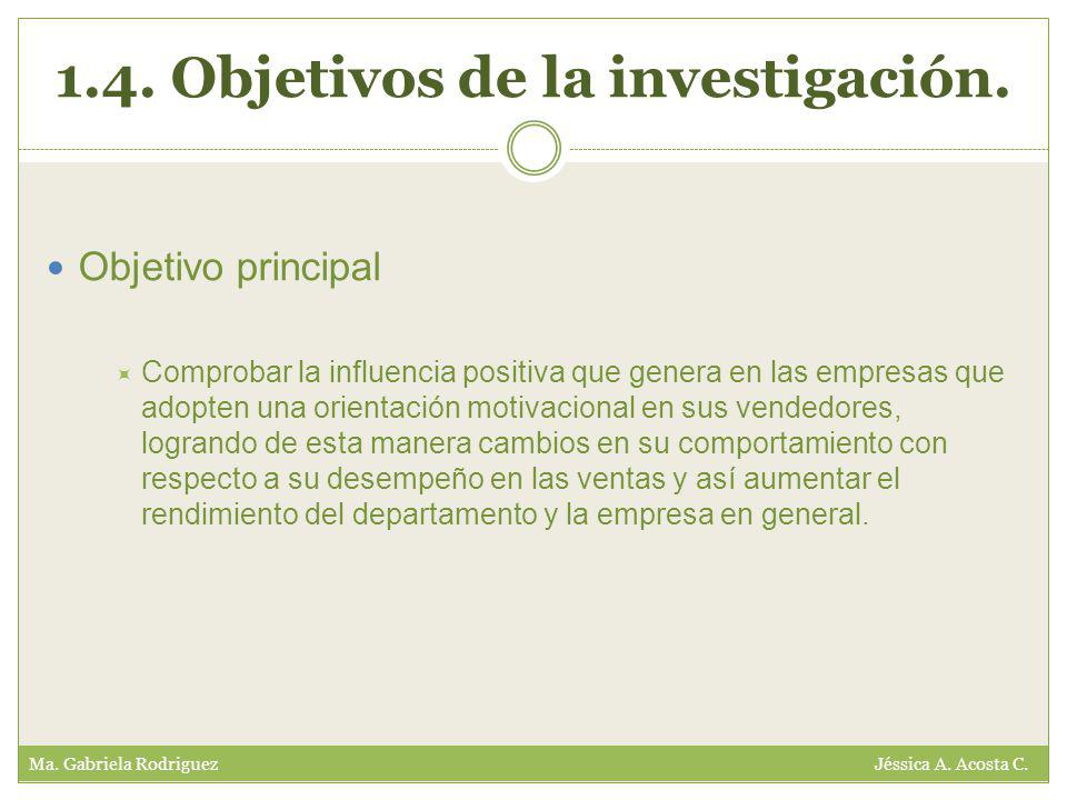 1.4. Objetivos de la investigación. Ma. Gabriela Rodriguez Jéssica A.