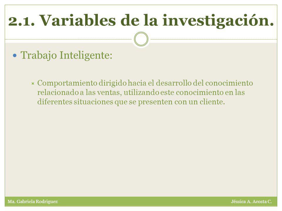 2.1. Variables de la investigación. Ma. Gabriela Rodriguez Jéssica A.