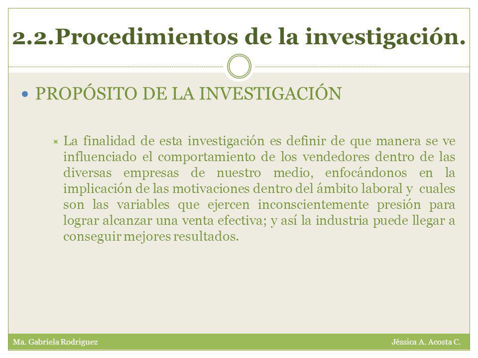 2.2.Procedimientos de la investigación. Ma. Gabriela Rodriguez Jéssica A.