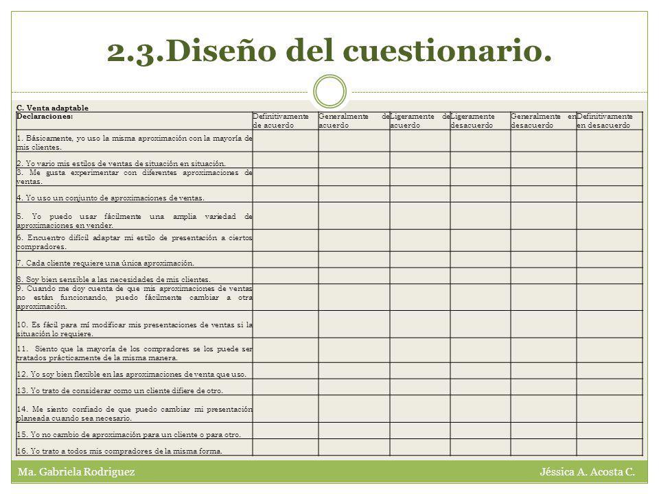 2.3.Diseño del cuestionario. Ma. Gabriela Rodriguez Jéssica A.