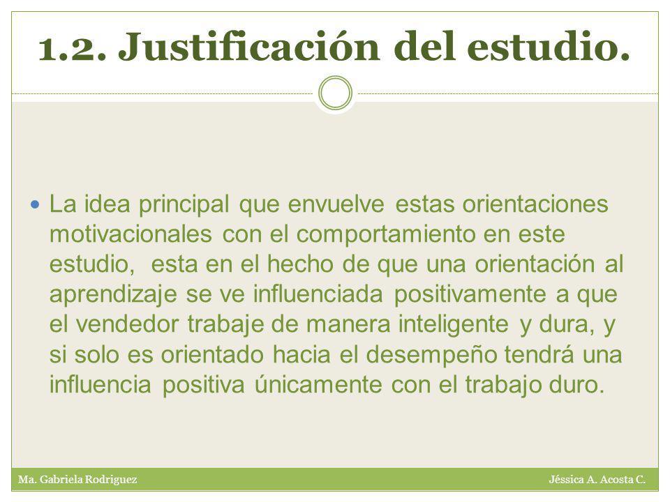 1.2. Justificación del estudio. Ma. Gabriela Rodriguez Jéssica A.