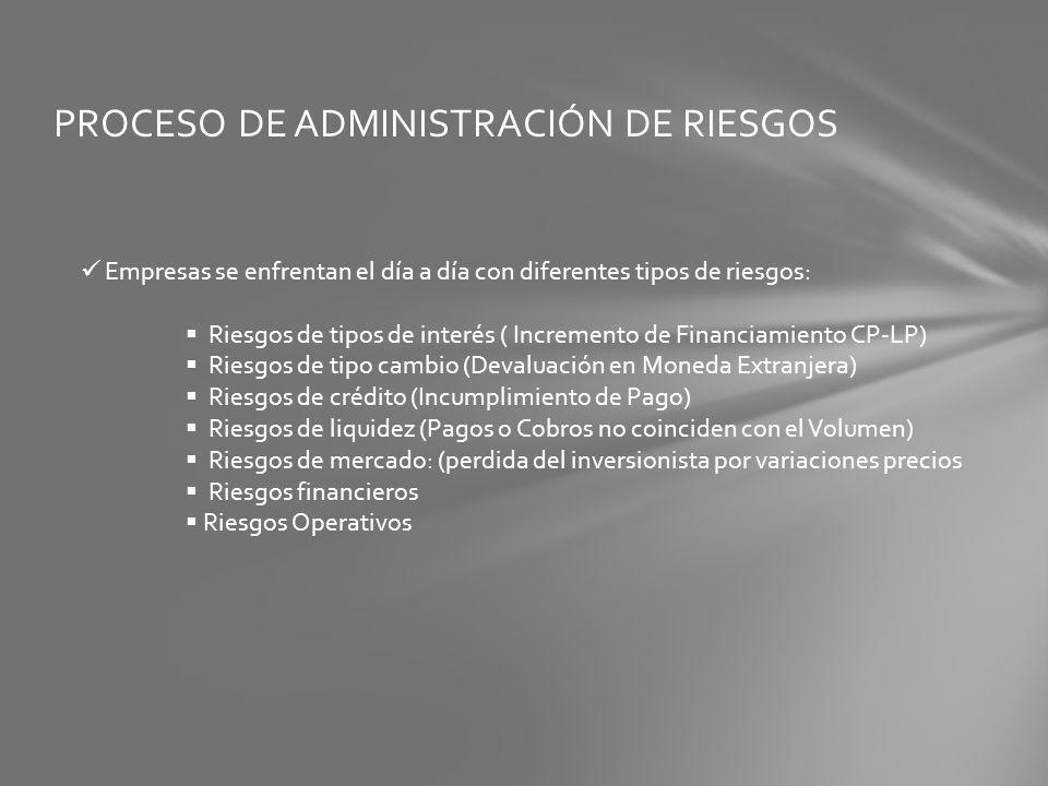 PROCESO DE ADMINISTRACIÓN DE RIESGOS Empresas se enfrentan el día a día con diferentes tipos de riesgos: Riesgos de tipos de interés ( Incremento de F