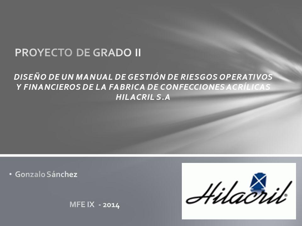 DISEÑO DE UN MANUAL DE GESTIÓN DE RIESGOS OPERATIVOS Y FINANCIEROS DE LA FABRICA DE CONFECCIONES ACRÍLICAS HILACRIL S.A