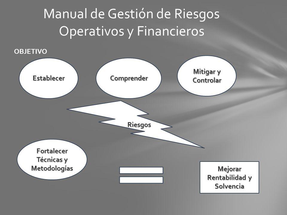 OBJETIVO Manual de Gestión de Riesgos Operativos y Financieros EstablecerComprender Mitigar y Controlar Riesgos Fortalecer Técnicas y Metodologías Mej