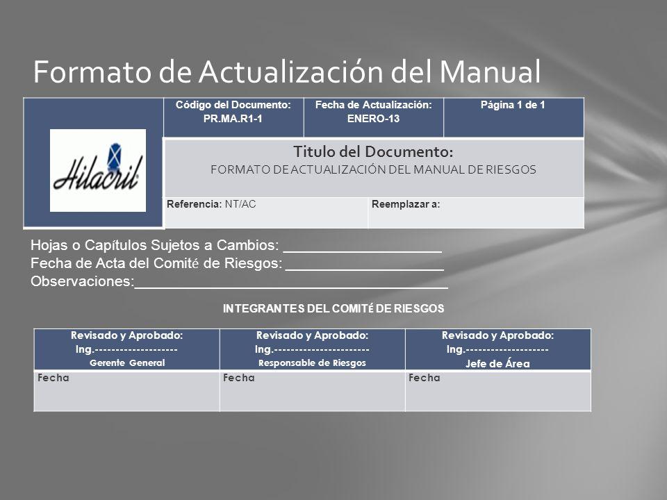 Código del Documento: PR.MA.R1-1 Fecha de Actualización: ENERO-13 Página 1 de 1 Titulo del Documento: FORMATO DE ACTUALIZACIÓN DEL MANUAL DE RIESGOS R