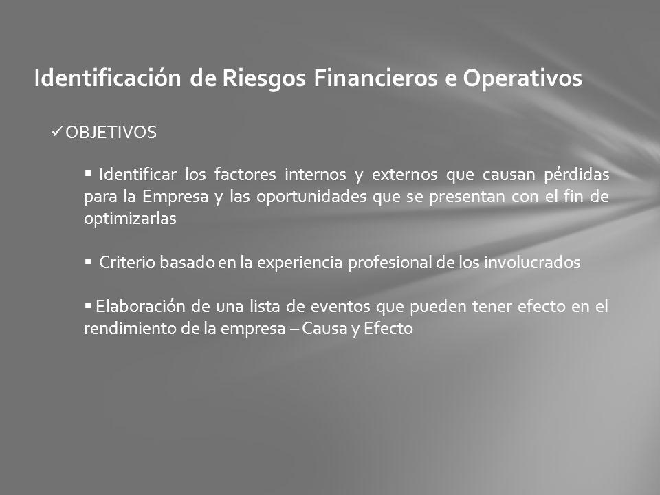 Identificación de Riesgos Financieros e Operativos OBJETIVOS Identificar los factores internos y externos que causan pérdidas para la Empresa y las op