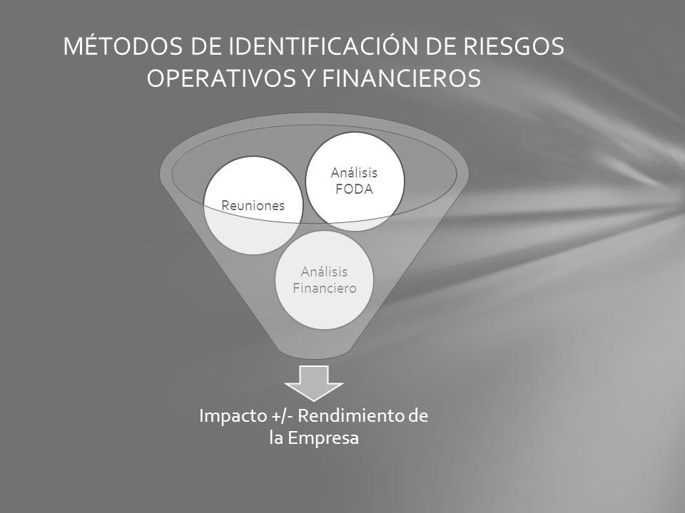 Impacto +/- Rendimiento de la Empresa Análisis Financiero Reuniones Análisis FODA MÉTODOS DE IDENTIFICACIÓN DE RIESGOS OPERATIVOS Y FINANCIEROS