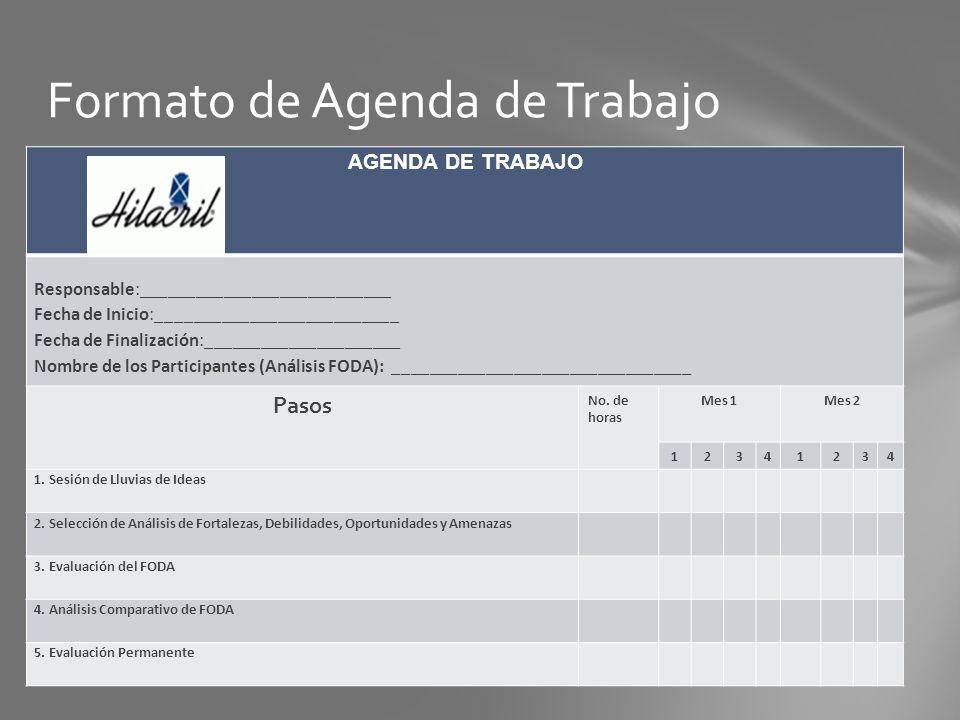 Formato de Agenda de Trabajo AGENDA DE TRABAJO Responsable:___________________________ Fecha de Inicio:__________________________ Fecha de Finalizació