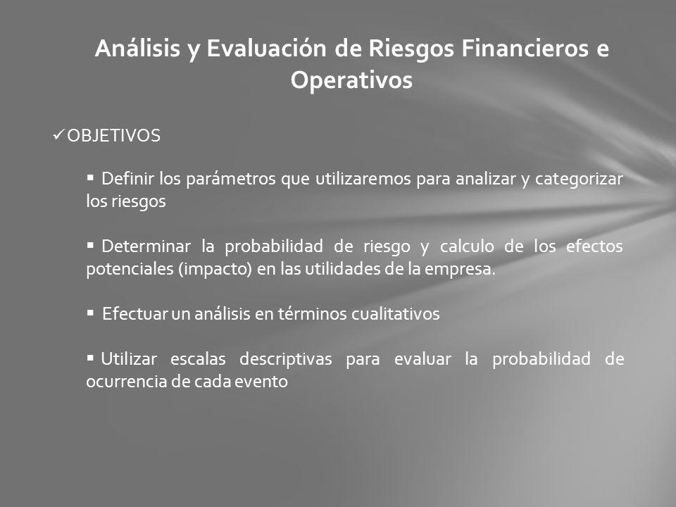 Análisis y Evaluación de Riesgos Financieros e Operativos OBJETIVOS Definir los parámetros que utilizaremos para analizar y categorizar los riesgos De