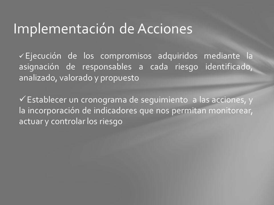 Implementación de Acciones Ejecución de los compromisos adquiridos mediante la asignación de responsables a cada riesgo identificado, analizado, valor