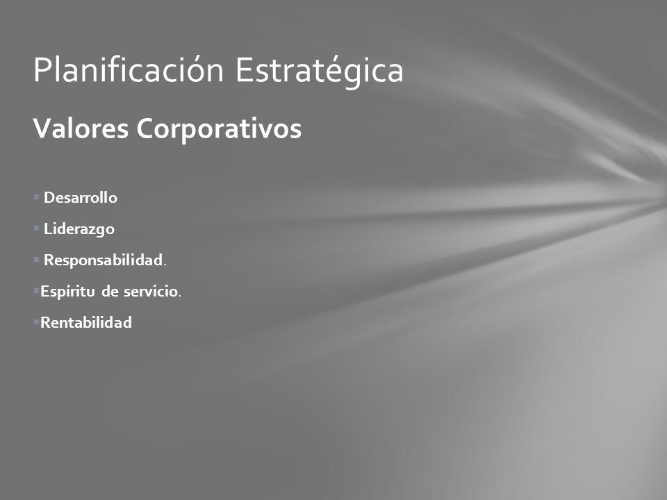 Valores Corporativos Desarrollo Liderazgo Responsabilidad. Espíritu de servicio. Rentabilidad Planificación Estratégica