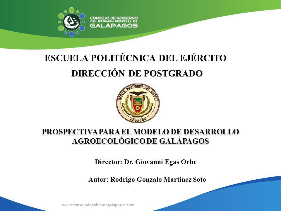 ESCUELA POLITÉCNICA DEL EJÉRCITO DIRECCIÓN DE POSTGRADO www.consejodegobiernogalapagos.com Director: Dr. Giovanni Egas Orbe PROSPECTIVA PARA EL MODELO