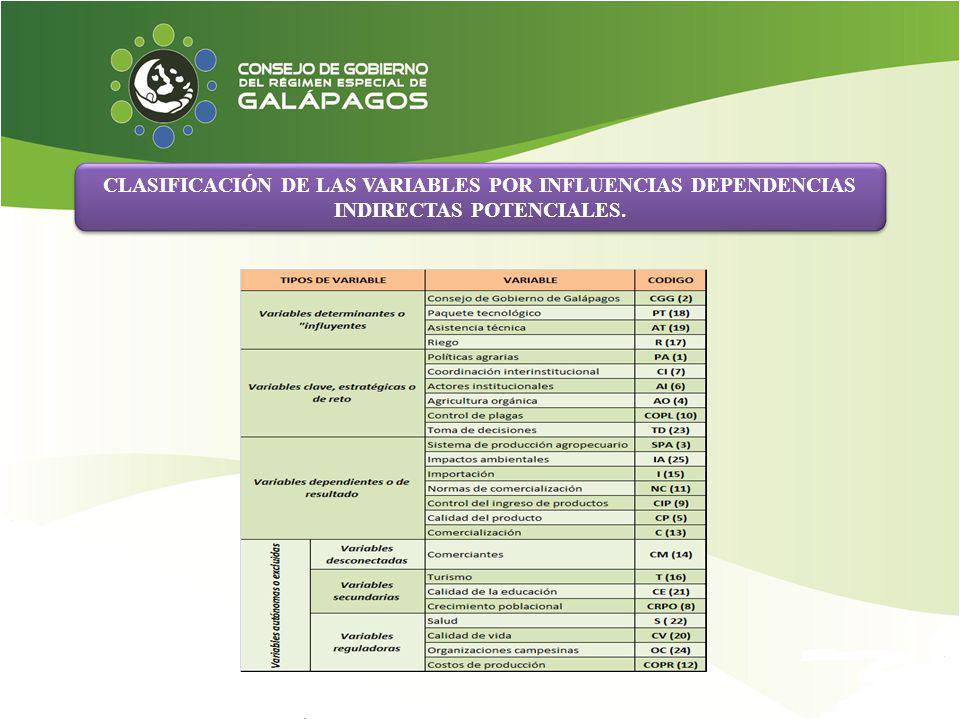 CLASIFICACIÓN DE LAS VARIABLES POR INFLUENCIAS DEPENDENCIAS INDIRECTAS POTENCIALES.