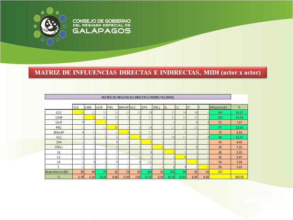 MATRIZ DE INFLUENCIAS DIRECTAS E INDIRECTAS, MIDI (actor x actor)