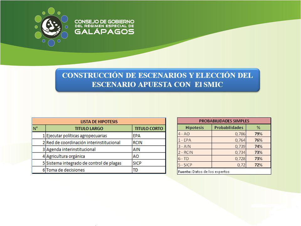 CONSTRUCCIÓN DE ESCENARIOS Y ELECCIÓN DEL ESCENARIO APUESTA CON El SMIC