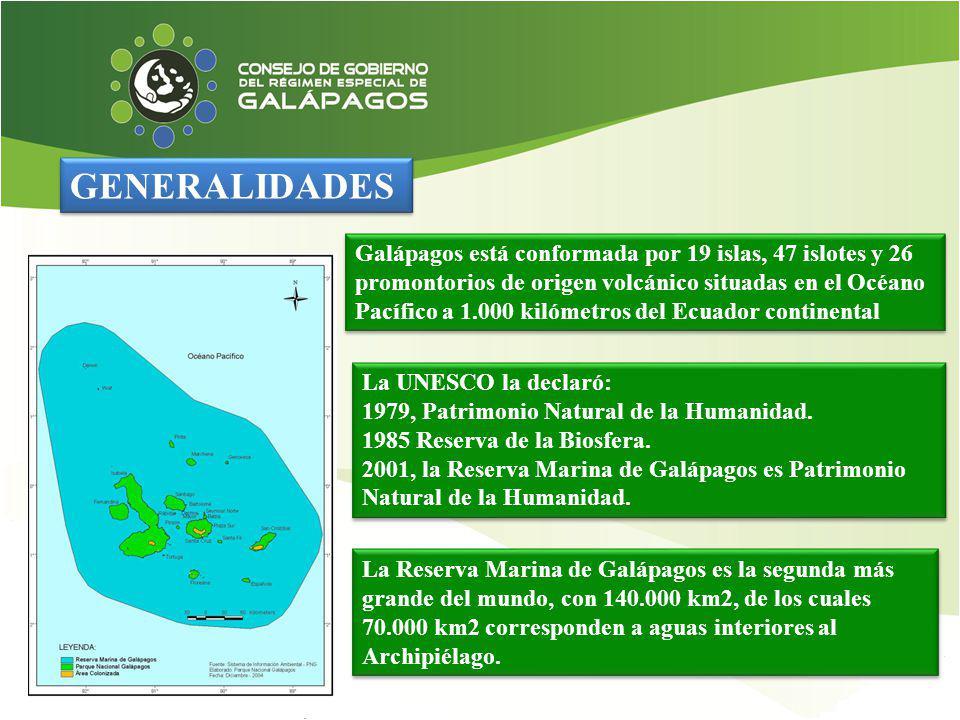 GENERALIDADES Galápagos está conformada por 19 islas, 47 islotes y 26 promontorios de origen volcánico situadas en el Océano Pacífico a 1.000 kilómetr