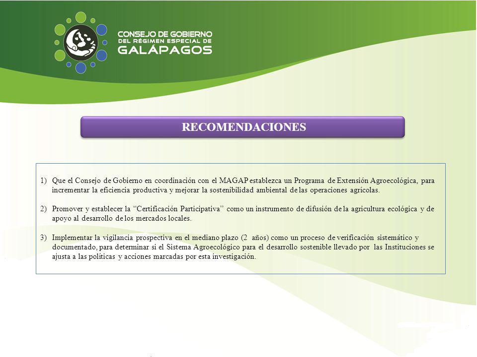 RECOMENDACIONES 1)Que el Consejo de Gobierno en coordinación con el MAGAP establezca un Programa de Extensión Agroecológica, para incrementar la efici