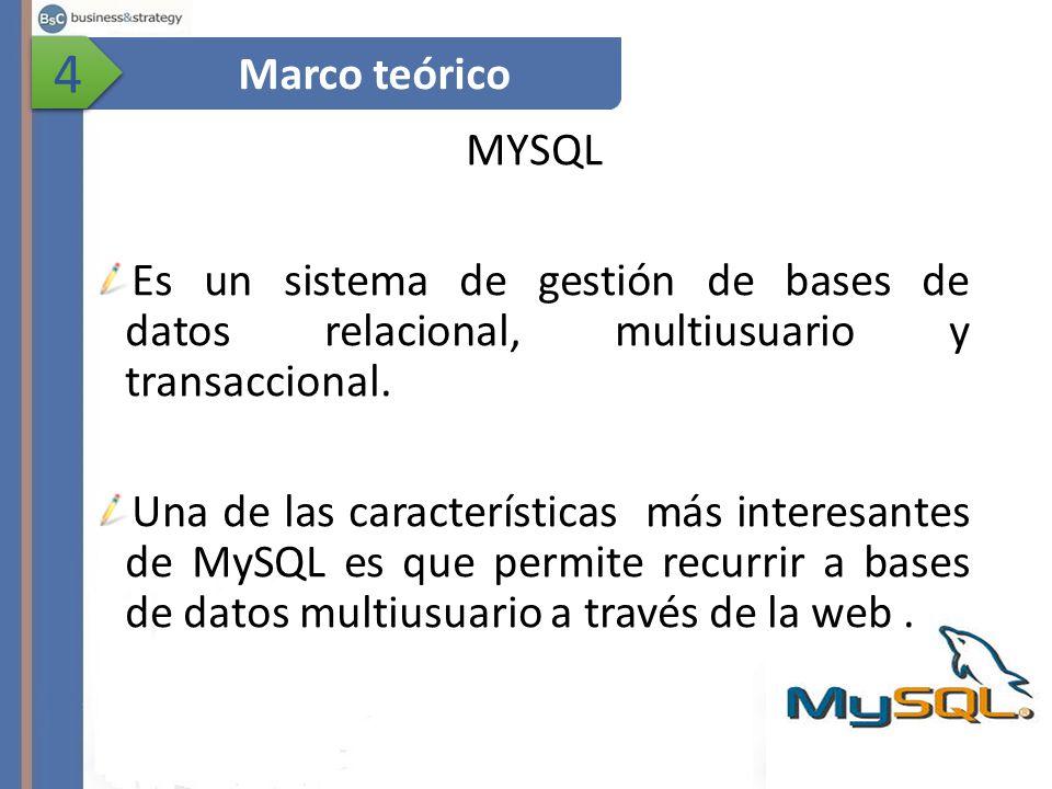 4 4 MYSQL Es un sistema de gestión de bases de datos relacional, multiusuario y transaccional.