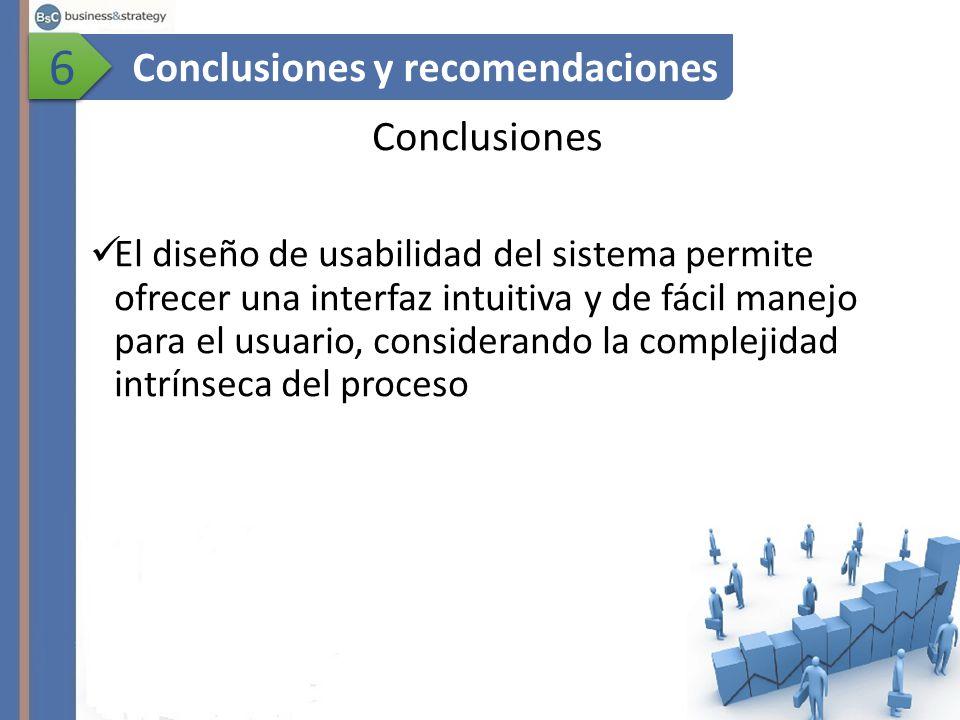 Conclusiones El diseño de usabilidad del sistema permite ofrecer una interfaz intuitiva y de fácil manejo para el usuario, considerando la complejidad intrínseca del proceso Conclusiones y recomendaciones 6 6