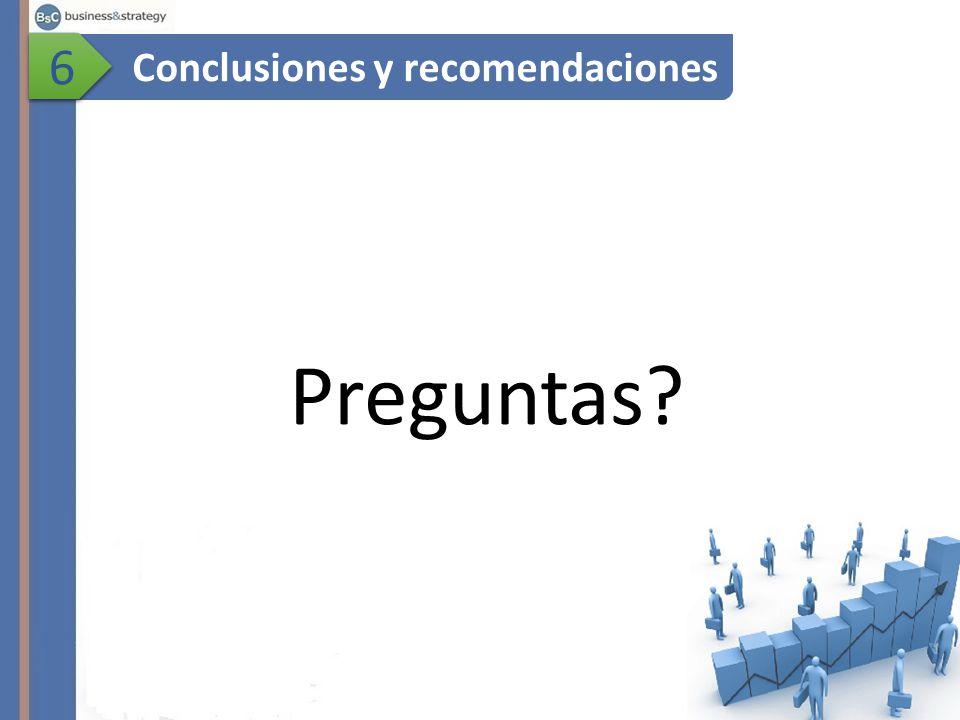 Preguntas? Conclusiones y recomendaciones 6 6