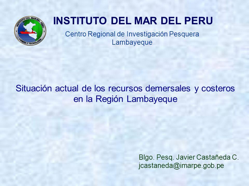 Blgo. Pesq. Javier Castañeda C. jcastaneda@imarpe.gob.pe Centro Regional de Investigación Pesquera Lambayeque INSTITUTO DEL MAR DEL PERU Situación act