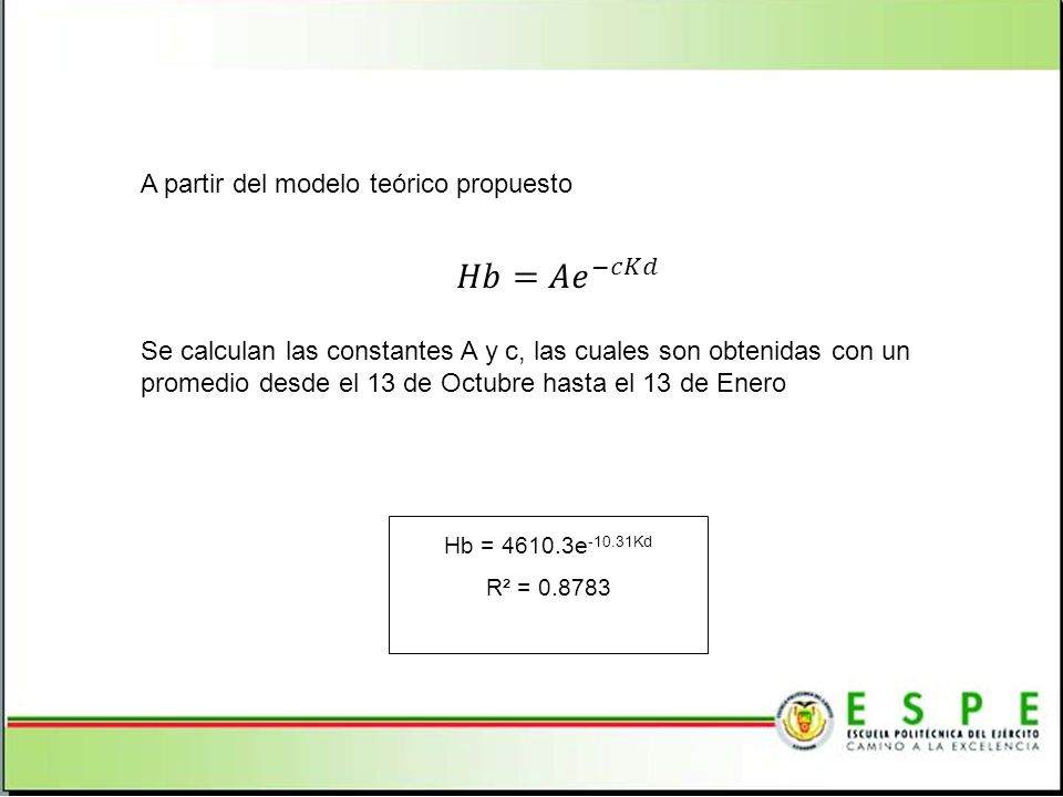A partir del modelo teórico propuesto Hb = 4610.3e -10.31Kd R² = 0.8783 Se calculan las constantes A y c, las cuales son obtenidas con un promedio desde el 13 de Octubre hasta el 13 de Enero