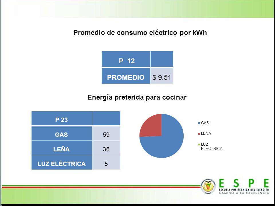 Promedio de consumo eléctrico por kWh P 12 PROMEDIO$ 9.51 Energía preferida para cocinar P 23 GAS59 LEÑA36 LUZ ELÉCTRICA5