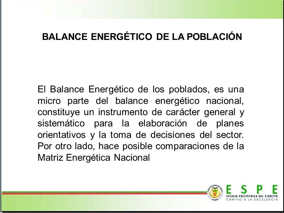 El Balance Energético de los poblados, es una micro parte del balance energético nacional, constituye un instrumento de carácter general y sistemático para la elaboración de planes orientativos y la toma de decisiones del sector.