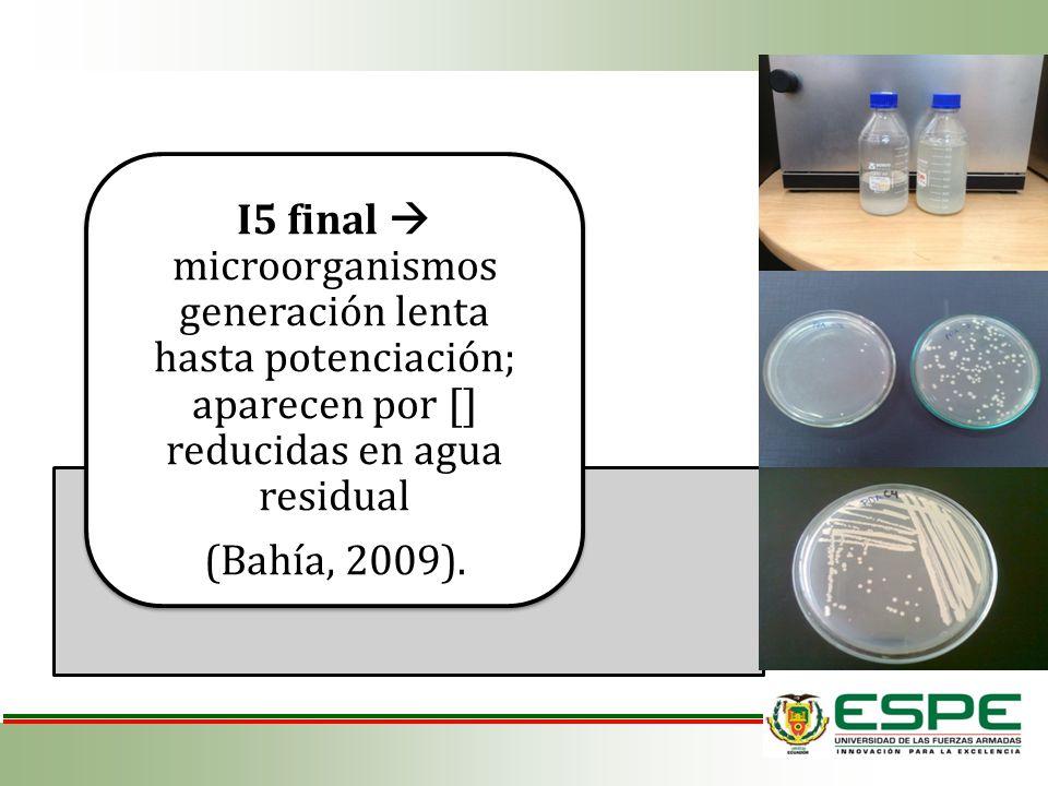I5 final microorganismos generación lenta hasta potenciación; aparecen por [] reducidas en agua residual (Bahía, 2009).