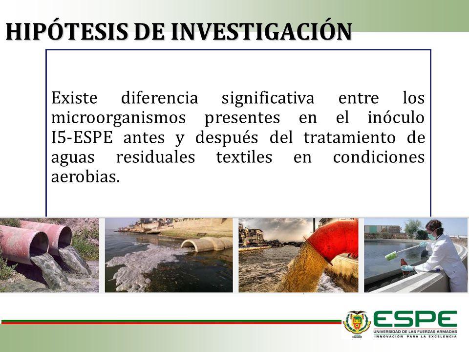 Existe diferencia significativa entre los microorganismos presentes en el inóculo I5-ESPE antes y después del tratamiento de aguas residuales textiles