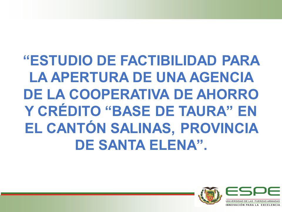 ESTUDIO DE FACTIBILIDAD PARA LA APERTURA DE UNA AGENCIA DE LA COOPERATIVA DE AHORRO Y CRÉDITO BASE DE TAURA EN EL CANTÓN SALINAS, PROVINCIA DE SANTA E