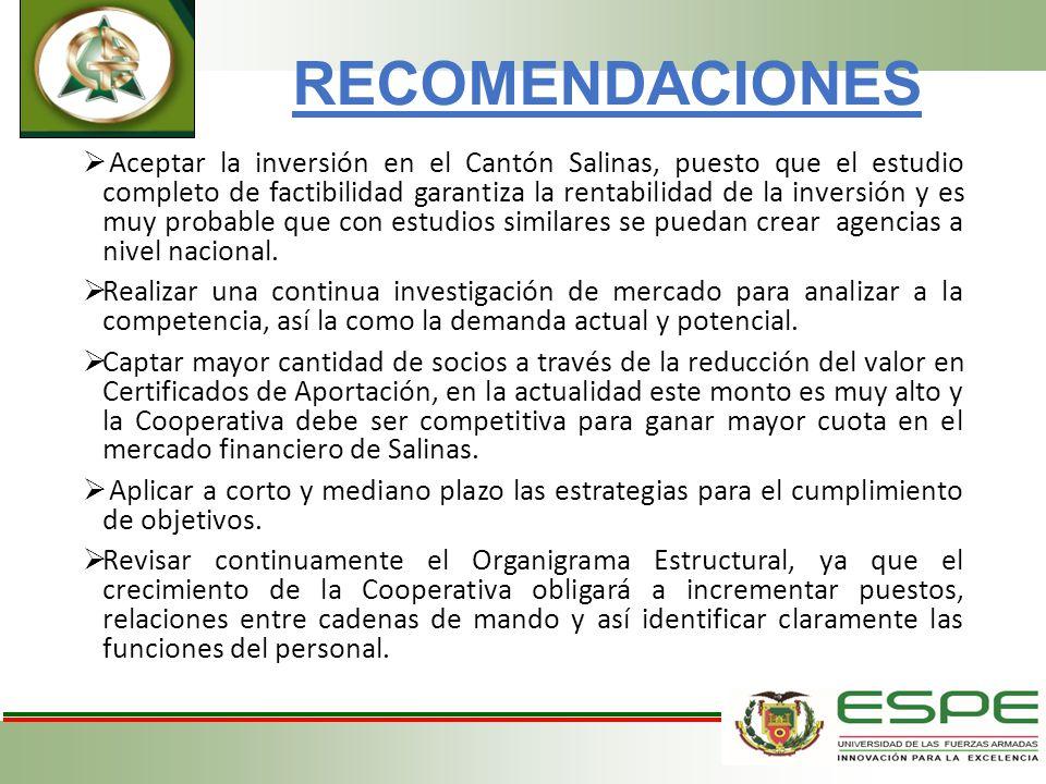 RECOMENDACIONES Aceptar la inversión en el Cantón Salinas, puesto que el estudio completo de factibilidad garantiza la rentabilidad de la inversión y