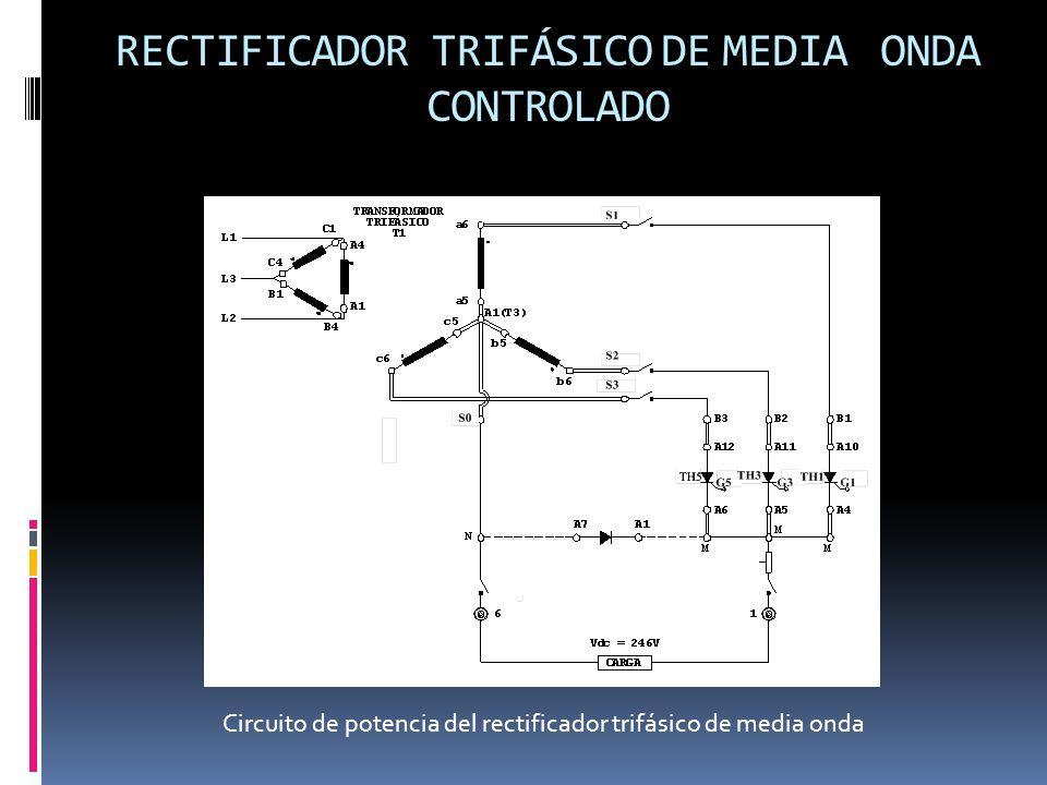 RECTIFICADOR TRIFÁSICO DE MEDIA ONDA CONTROLADO Circuito de potencia del rectificador trifásico de media onda