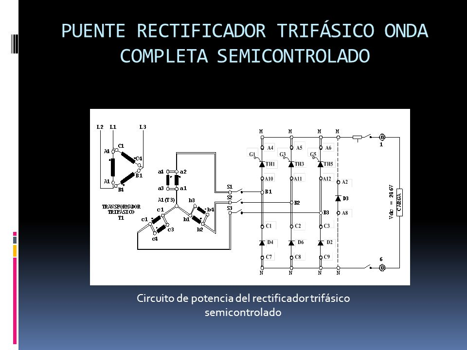 PUENTE RECTIFICADOR TRIFÁSICO ONDA COMPLETA SEMICONTROLADO Circuito de potencia del rectificador trifásico semicontrolado
