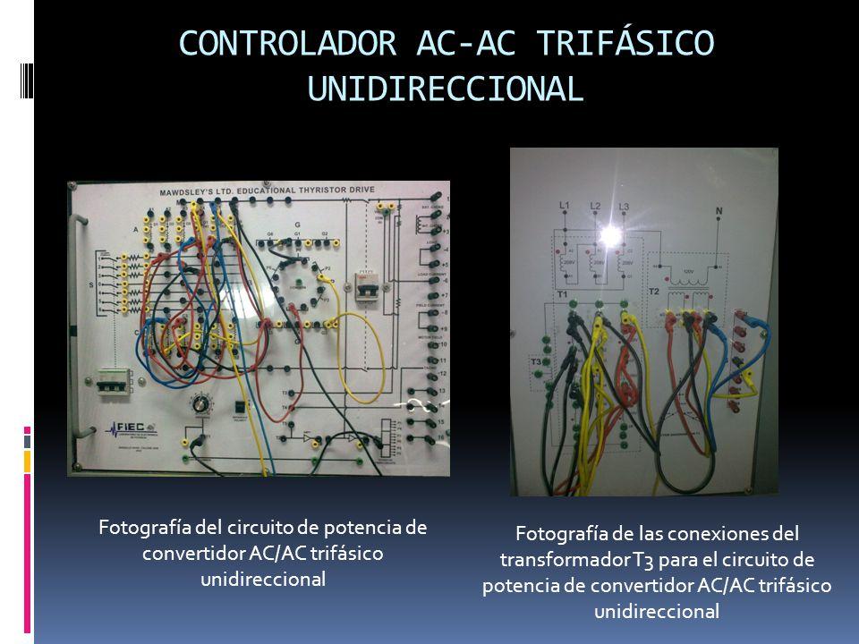 CONTROLADOR AC-AC TRIFÁSICO UNIDIRECCIONAL Fotografía del circuito de potencia de convertidor AC/AC trifásico unidireccional Fotografía de las conexiones del transformador T3 para el circuito de potencia de convertidor AC/AC trifásico unidireccional