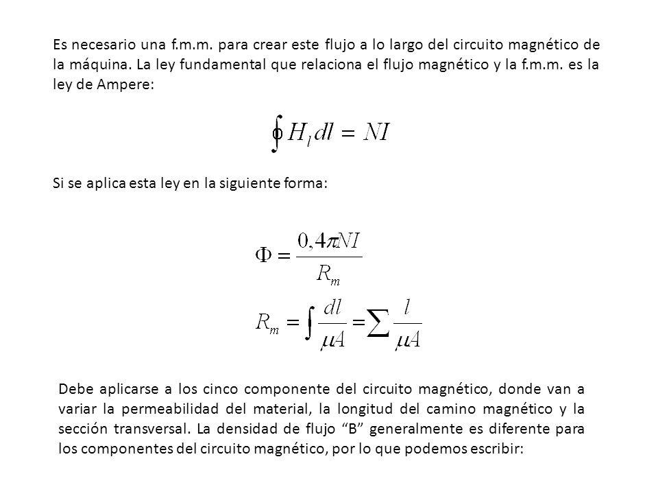 Como Φ = B A se tiene (B c l c / μ c ) + 2(B p l p / μ p ) + 2(B g l g / μ g ) + 2(B d l d / μ d ) + (B n l n / μ n ) = μ o NI Debido a que B = μ o μ H H c l c + 2H p l p + 2H g l g + 2H d l d + H n l n = NI Con lo cual determinamos los amperios vueltas de cada uno de los cinco componentes del circuito magnético separadamente y luego se suman.