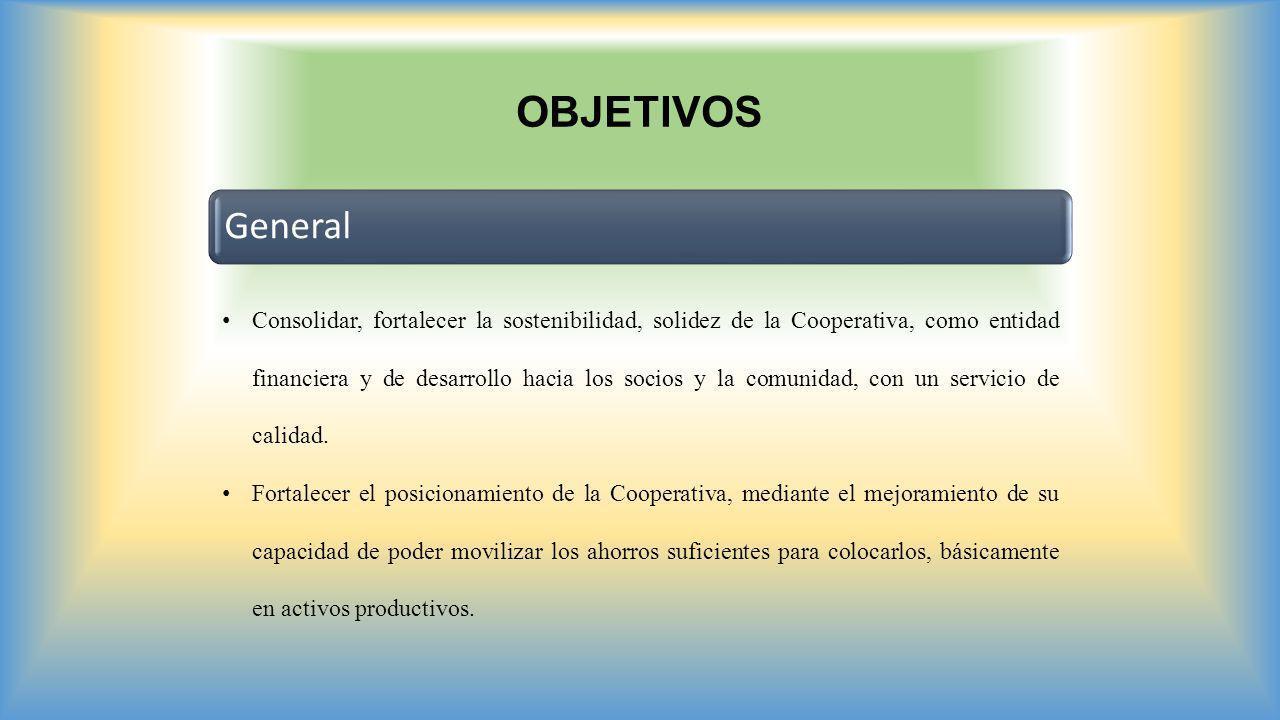 OBJETIVOS General Consolidar, fortalecer la sostenibilidad, solidez de la Cooperativa, como entidad financiera y de desarrollo hacia los socios y la c