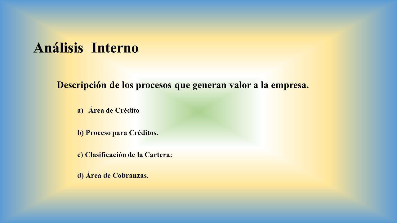 Análisis Interno Descripción de los procesos que generan valor a la empresa. a)Área de Crédito b) Proceso para Créditos. c) Clasificación de la Carter