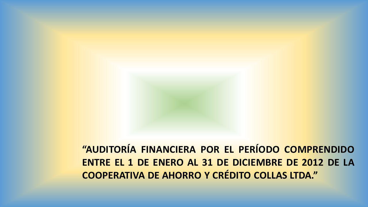 AUDITORÍA FINANCIERA POR EL PERÍODO COMPRENDIDO ENTRE EL 1 DE ENERO AL 31 DE DICIEMBRE DE 2012 DE LA COOPERATIVA DE AHORRO Y CRÉDITO COLLAS LTDA.