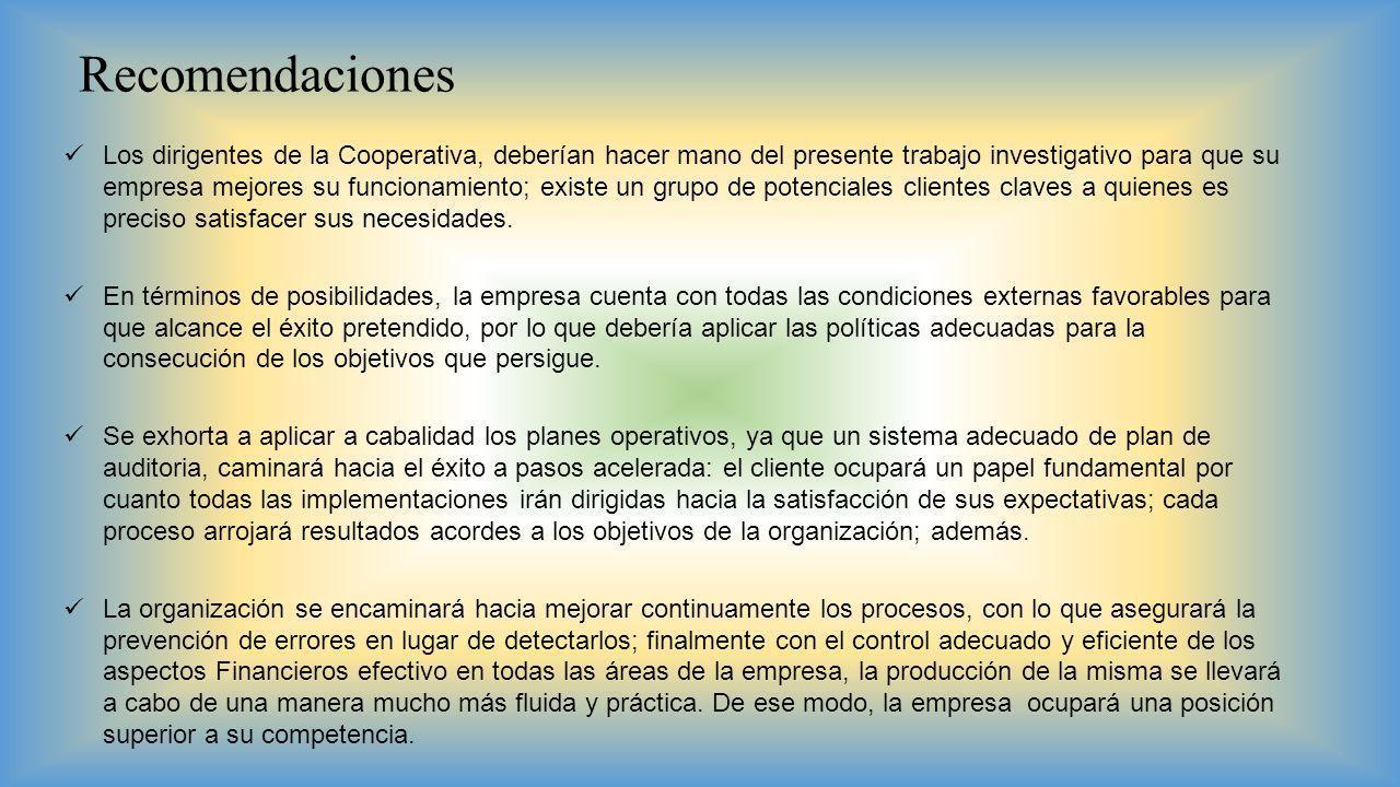 Recomendaciones Los dirigentes de la Cooperativa, deberían hacer mano del presente trabajo investigativo para que su empresa mejores su funcionamiento