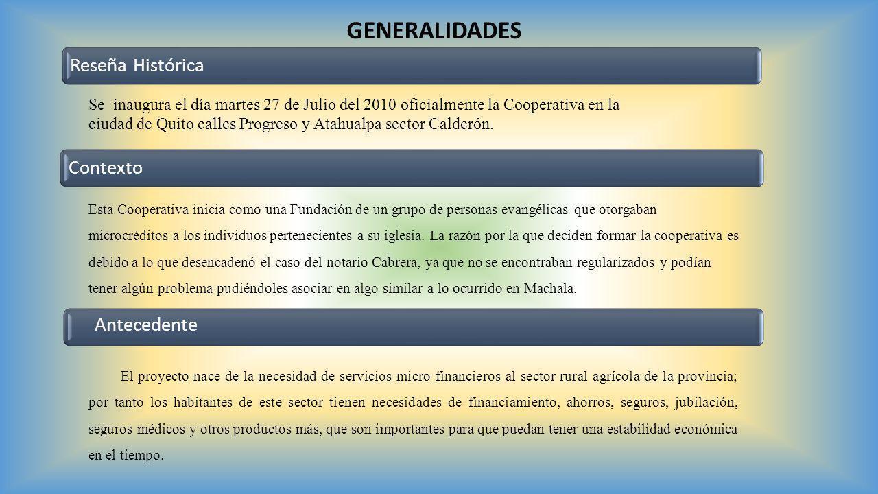 GENERALIDADES Reseña HistóricaContexto Antecedente Se inaugura el día martes 27 de Julio del 2010 oficialmente la Cooperativa en la ciudad de Quito ca